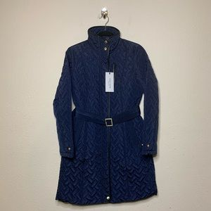 Cole Haan Navy Blue Quilted Belted Trench Coat